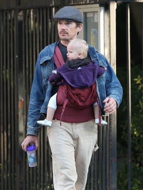 Celebrity Babywearing Watch Ethan Hawke Sports An Ergo