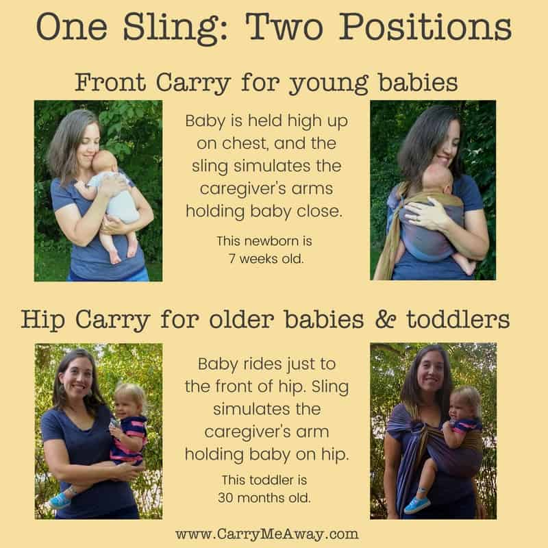 Ring Slings can be used from birth through toddlerhood