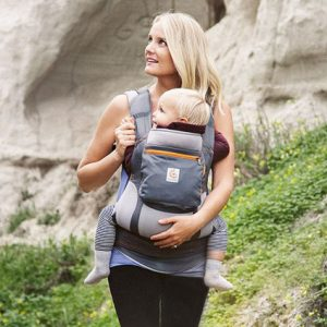 Stone Performance Ergobaby: Stone and Grey carrier with Orange accents and stitching