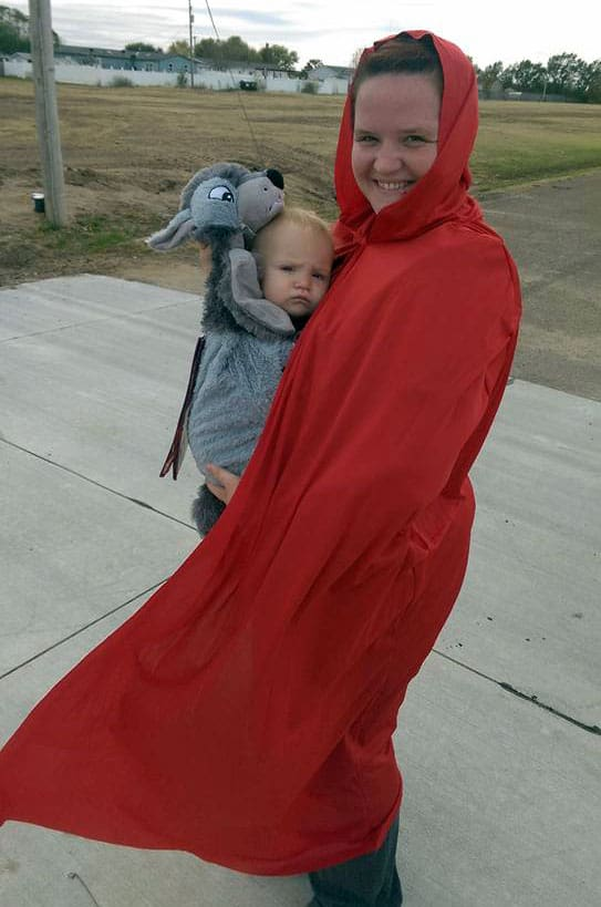 Babywearing Halloween costume: Little Red Riding Hood and the Big Bad Wolf