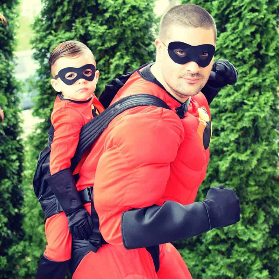 Babywearing Halloween costume: Mr. Incredible and Jack Jack