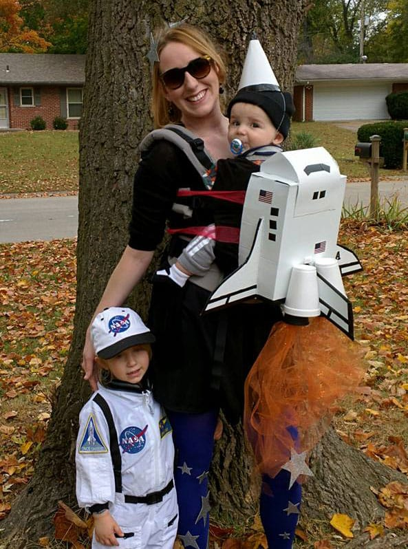 Babywearing Halloween costume: Rocket Ship