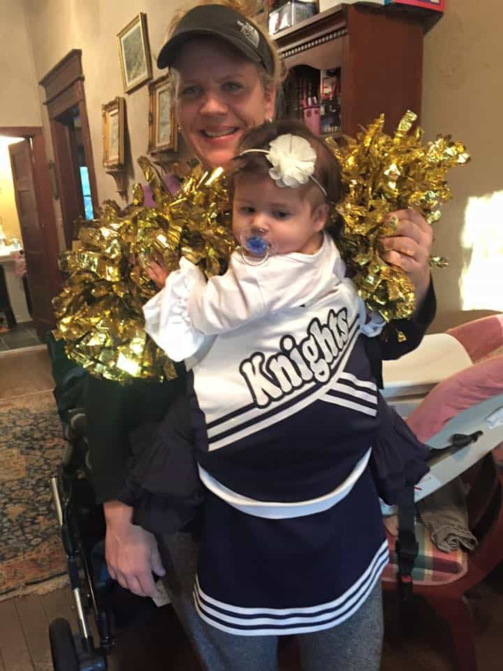 Babywearing Halloween costume: Cheerleader