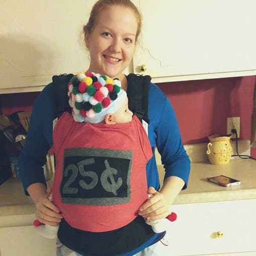 Babywearing Halloween costume: Gumball Machine