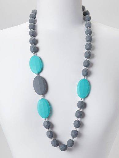 Grey-Turquoise Quatro | Gumeez Teething Necklace |Teething Jewelry