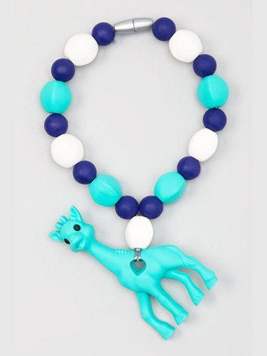 Turquoise-Navy-White Georgie the Giraffe Teething Tether | Gumeez Teethers |Teething Jewelry