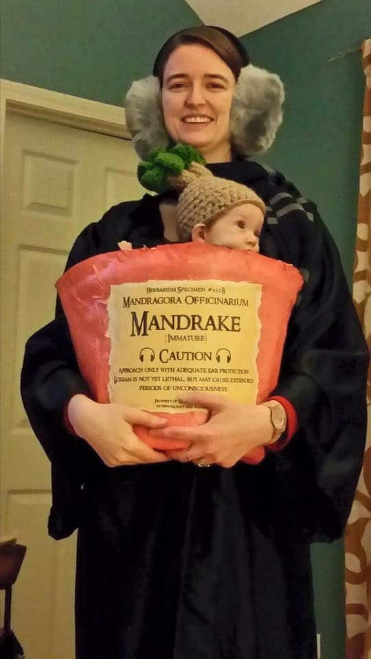 Babywearing Halloween costumes 2016: Professor Sprout and a mandrake, by Amanda Goss Peters