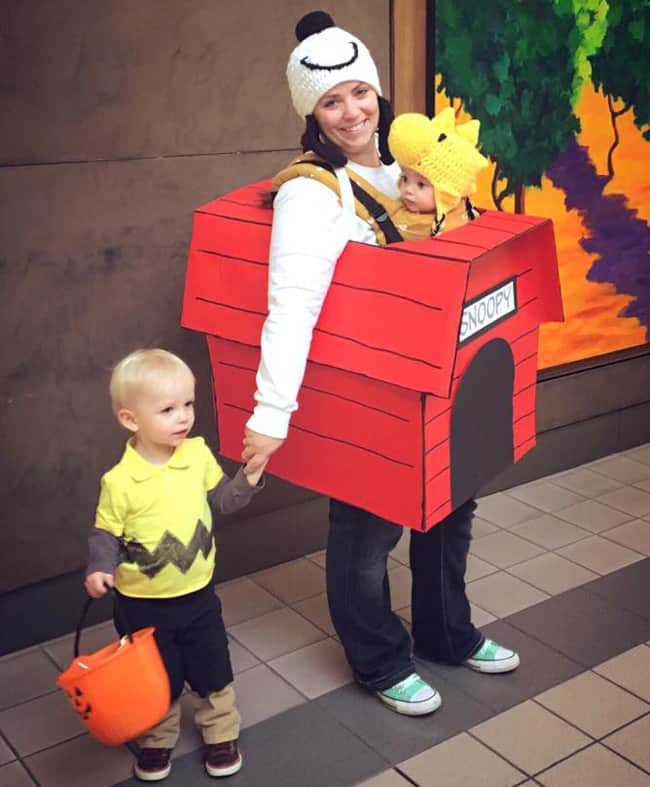 Snoopy Woodstock and Charlie Brown Babywearing Halloween Costume Roundup 2017
