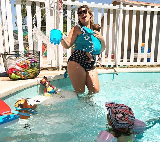 Water Wrap | Pool baby carrier | Water Baby Carrier | Babywearing in the Pool