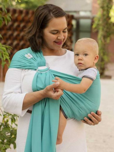 Tide Pool Teal Beachfront Baby Everyday Ring Sling | Water Ring Slings | Water Baby Carrier | Water Sling